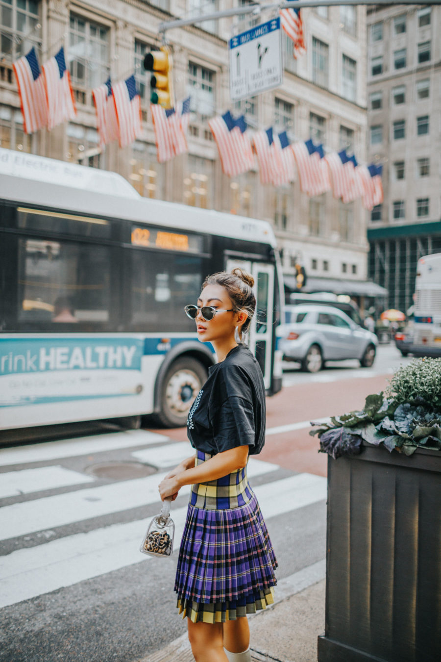 Shopping Spree in NYC with ShopRunner - Versace Tee, Plaid Skirt, White Boots // Notjessfashion.com