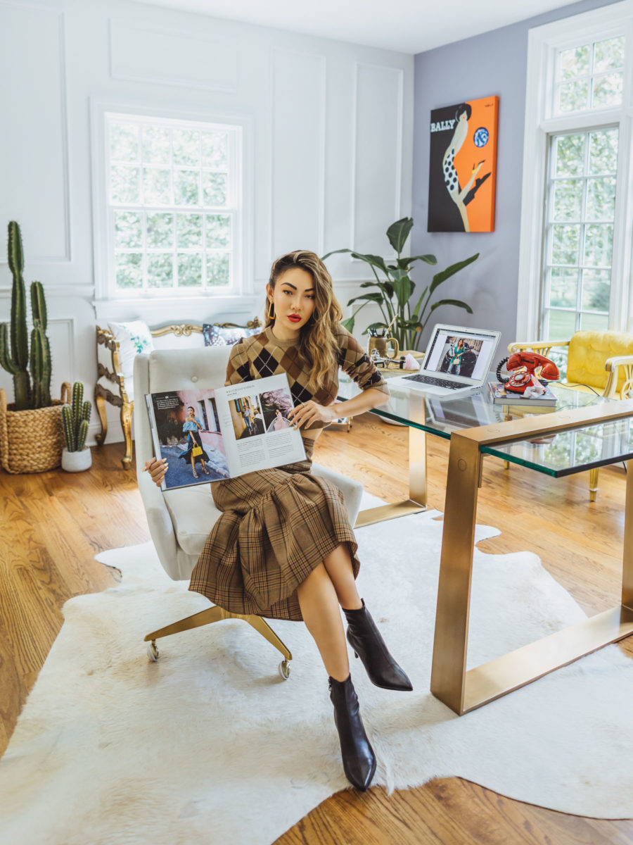 fashion blogger jessica wang at her home office reading a book and sharing ways to stay productive // Jessica Wang - Notjessfashion.com