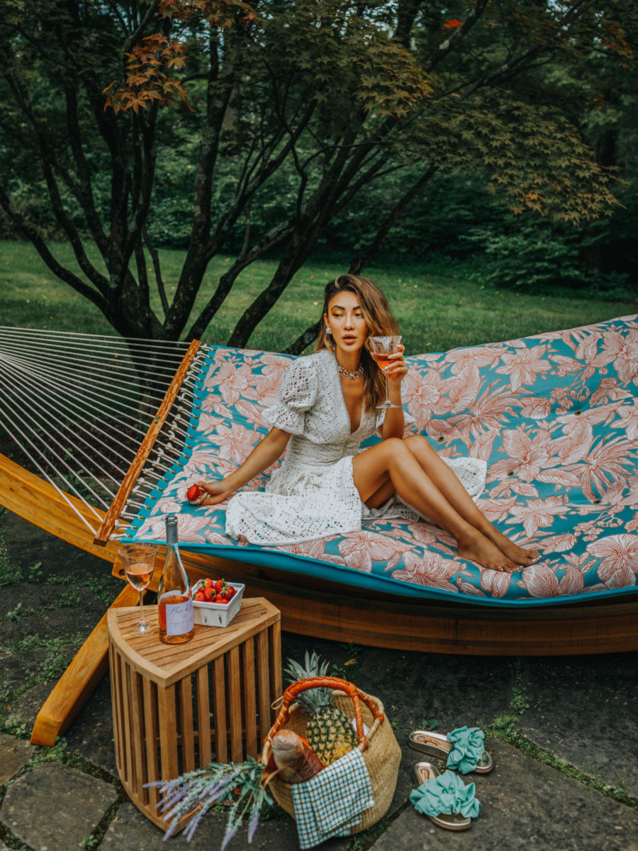 fashion blogger jessica wang sitting in backyard and sharing ways to boost health and wellness at home // Jessica Wang -Notjessfashion.com