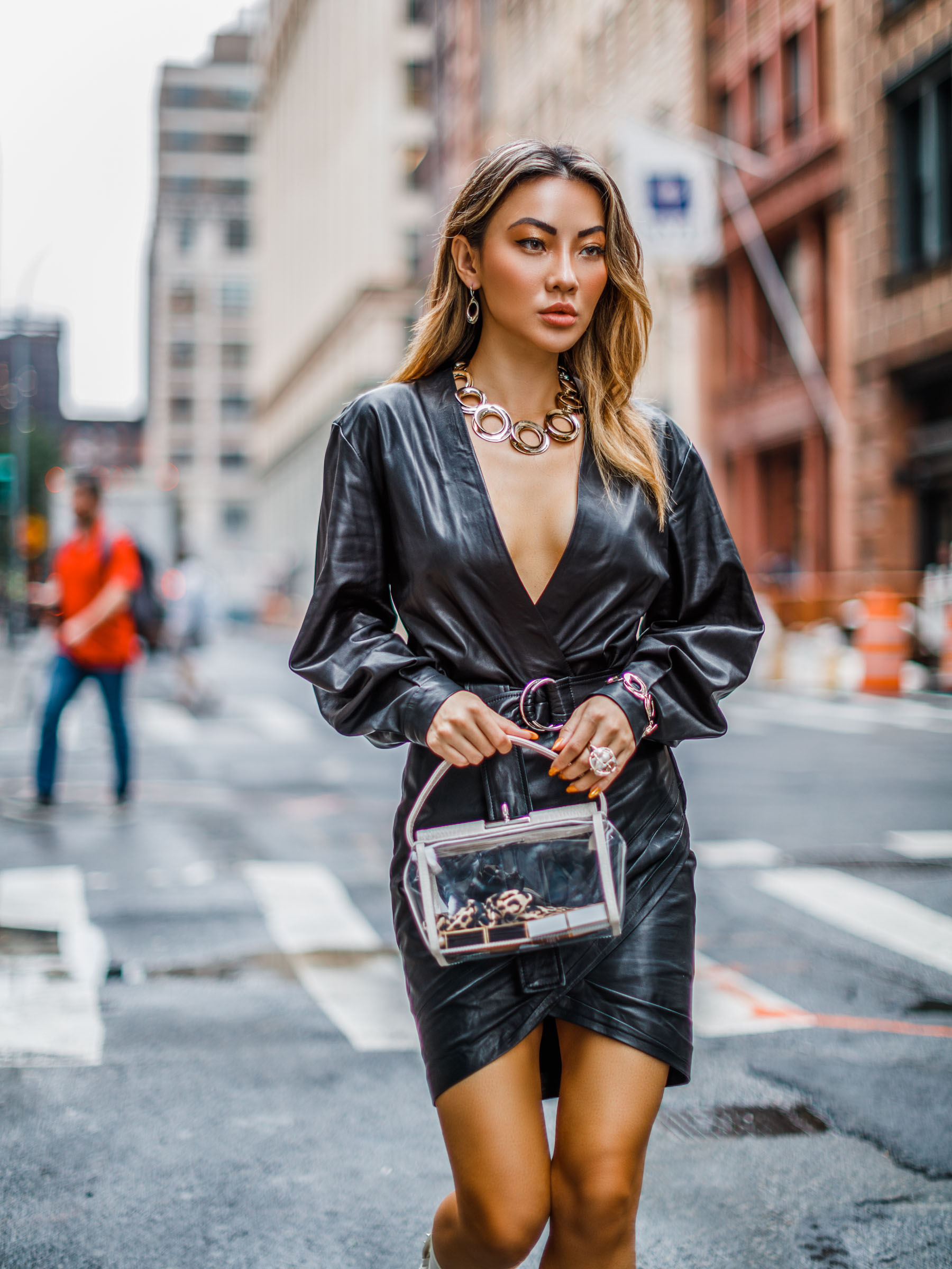 NYFW SS19 Recap, NYFW SS19 Street Style, statement jewelry trend, clear bag trend, french fashion brands, iro dress // Notjessfashion.com