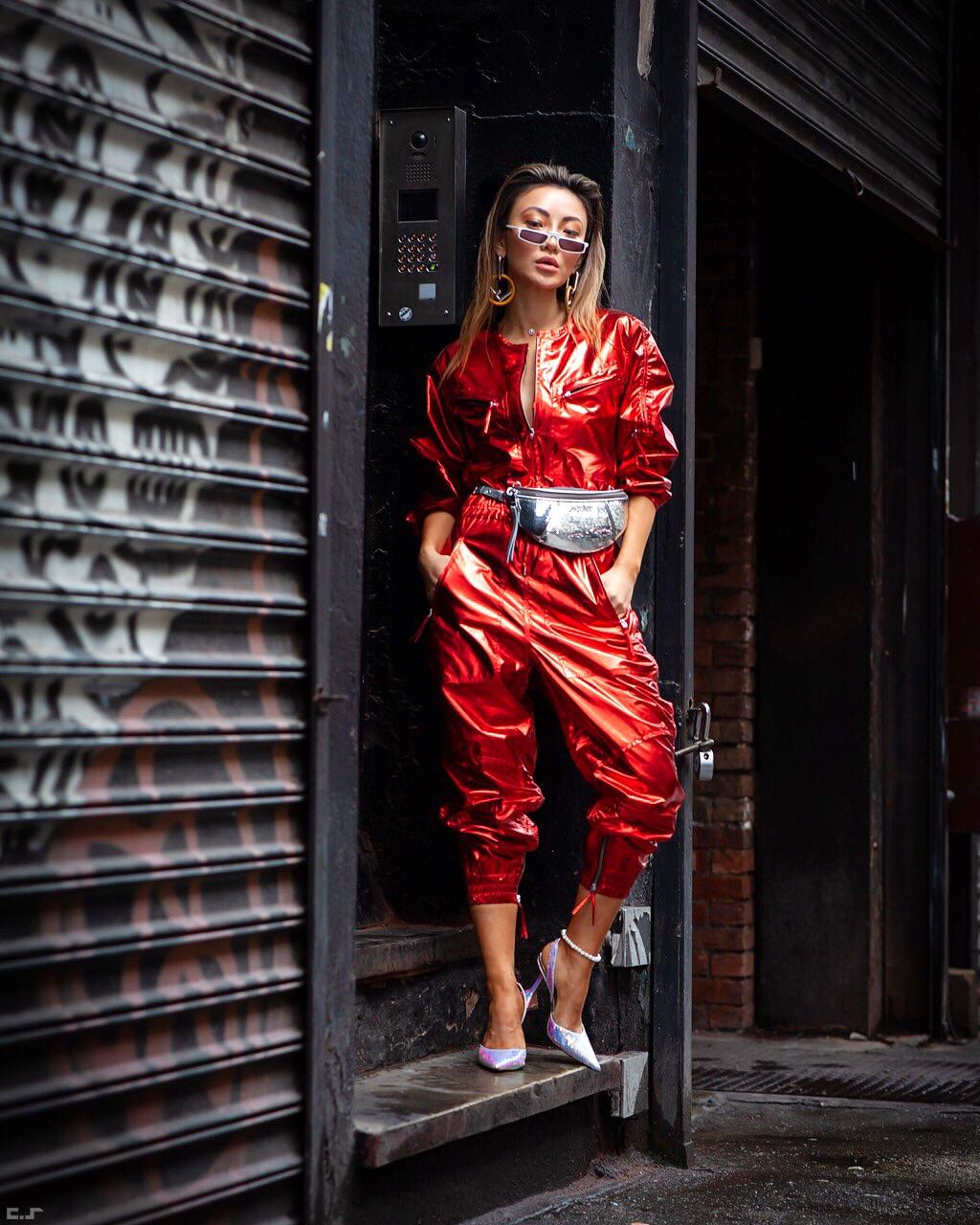 boiler suit trend, boiler suit fall 2019, boiler suit and boots, NYFW SS19 Recap, NYFW SS19 Street Style, holographic trend, metallic trend // Notjessfashion.com