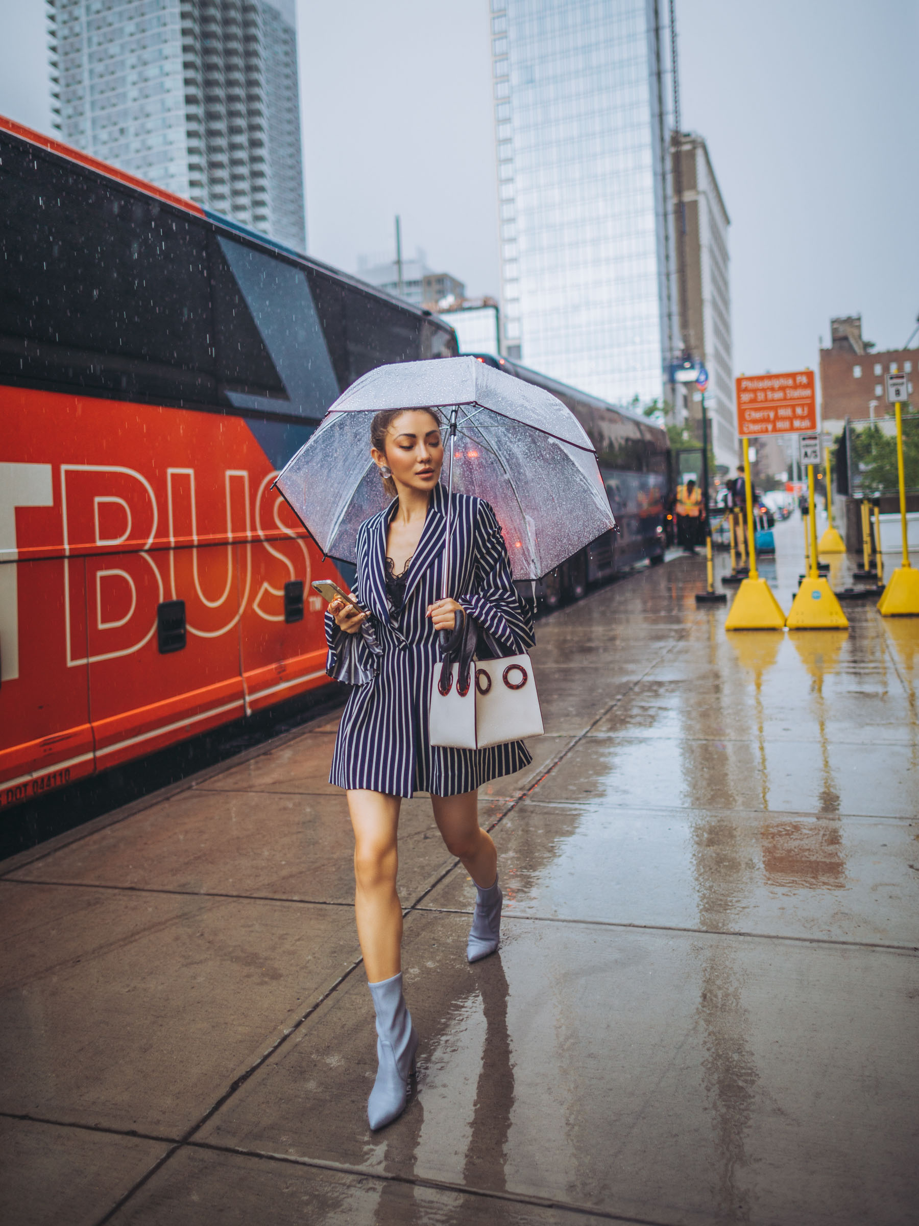 how to style a blazer, blazer dress, chic rainy day outfit // Notjessfashion.com