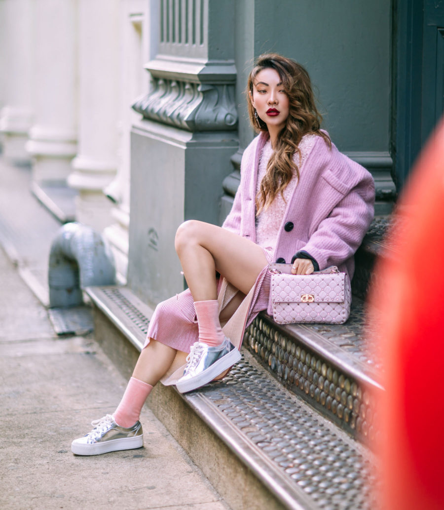 How to Wear the Corduroy Trend - Pink Monochrome Outfit, pink corduroy jacket, corduroy lined skirt // Notjessfashion.com