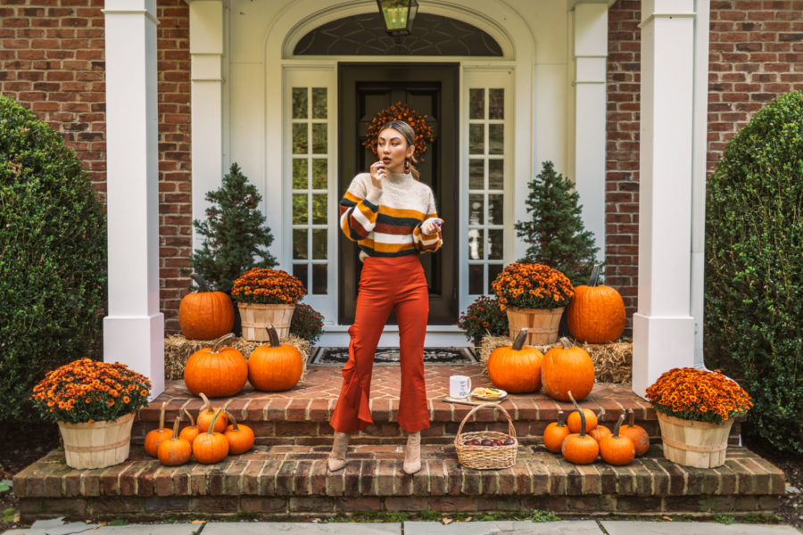 fashion blogger jessica wang on halloween decorated front porch // Jessica Wang - Notjessfashion.com