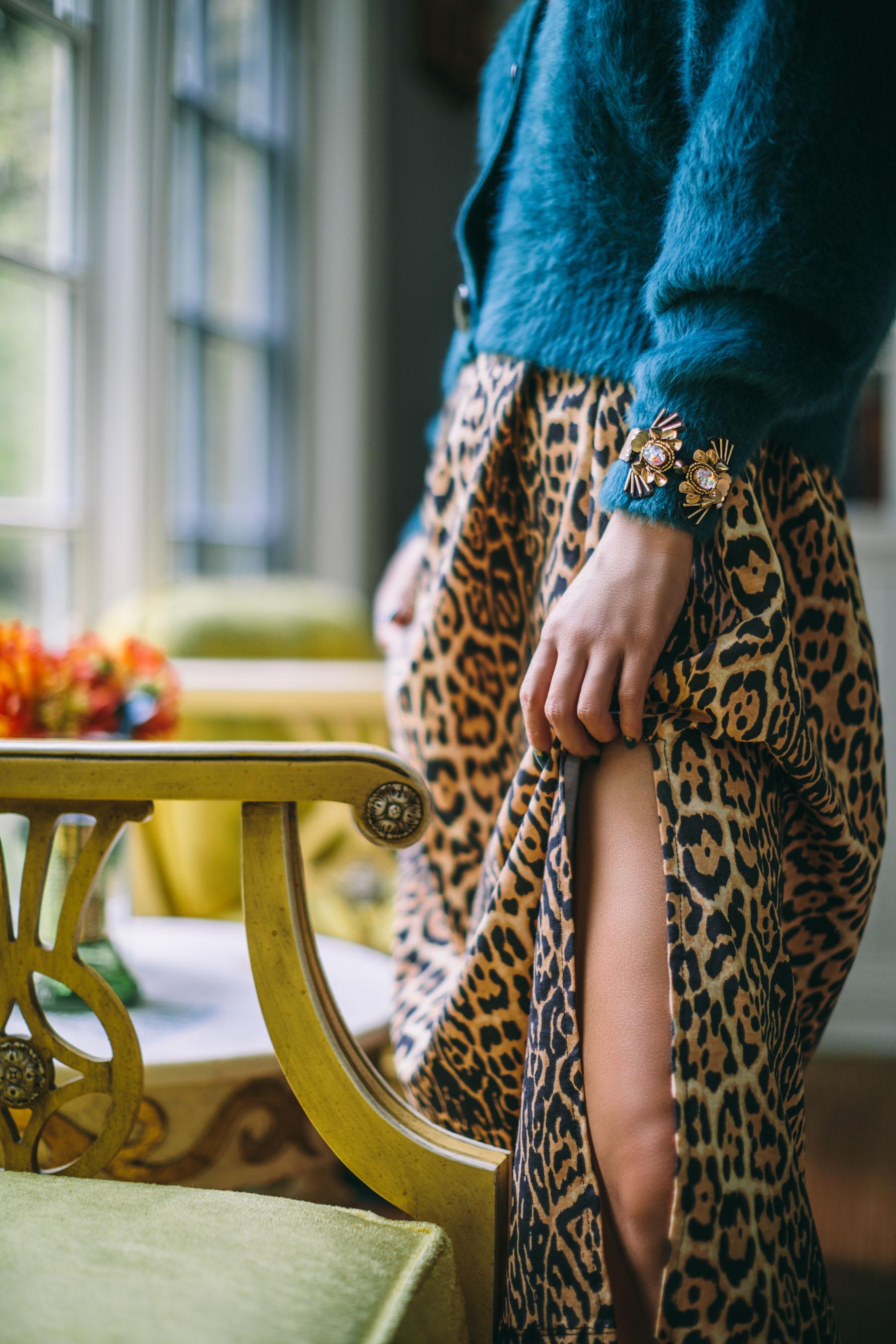 animal print, leopard slip dress, leopard dress and colored cardigan, Mignonne Gavigan jewelry // Notjessfashion.com