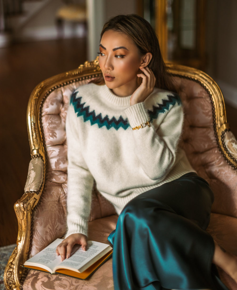 fashion blogger jessica wang shares holiday party makeup looks in fairisle sweater with metallic eyelids // Notjessfashion.com