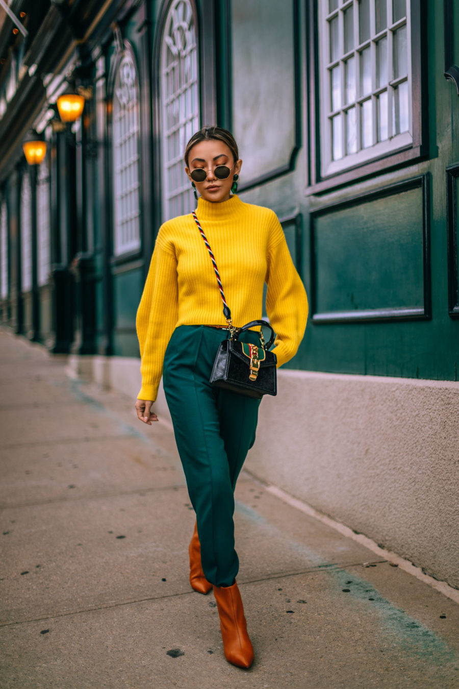 Fresh Fall Outfit Color Combinations to Try - Green and Yellow outfit, Gucci Bag // Notjessfashion.com