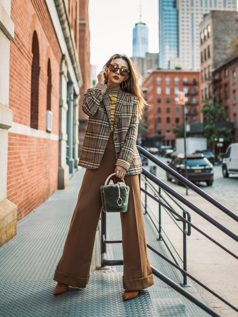trouser styles for women featuring plaid blazer and wool wide leg pants // Notjessfashion.com