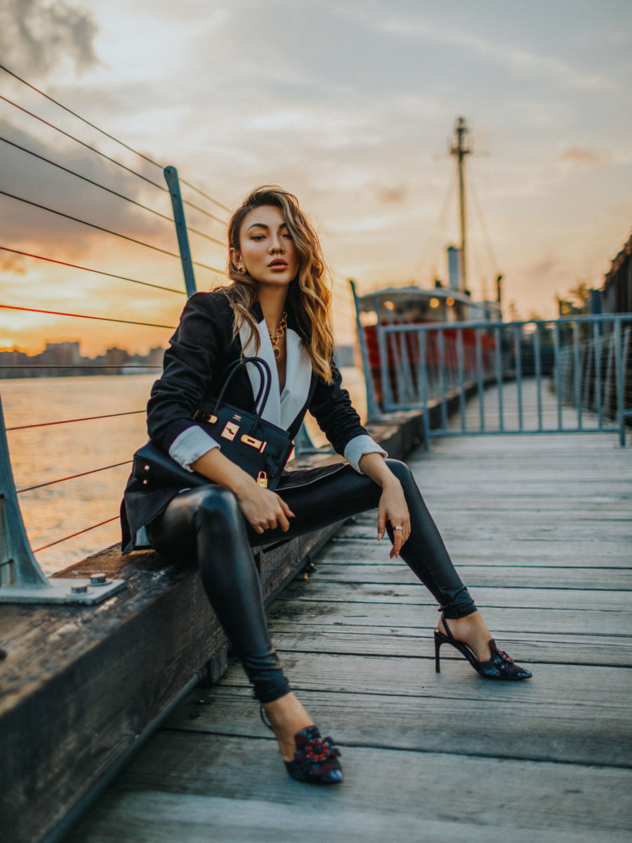 affordable pieces on amazon that look way more expensive featuring blazer leather leggings and pumps // Notjessfashion.com