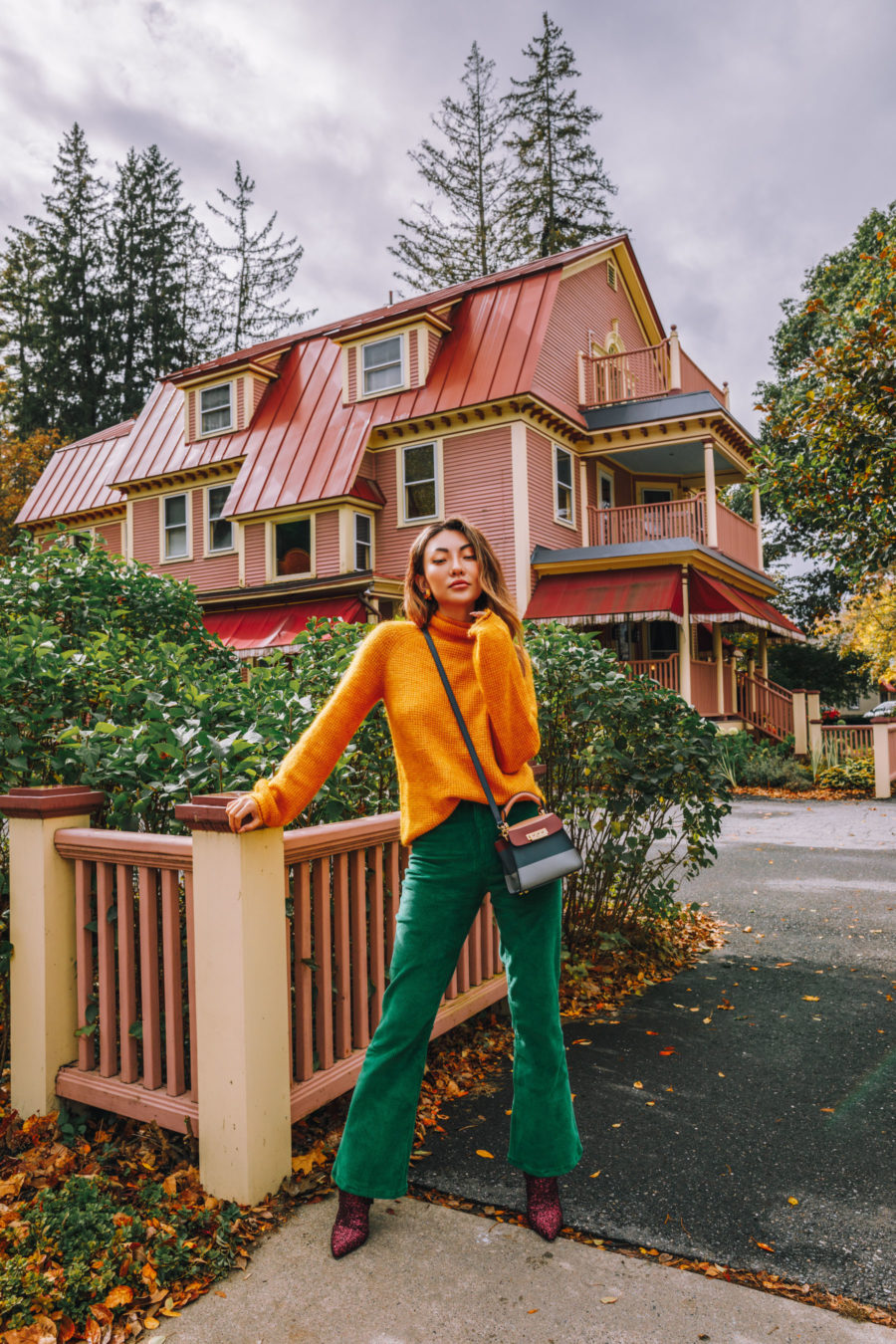 colorful fall outfit, orange and green outfit, glittery boots // Notjessfashion.com