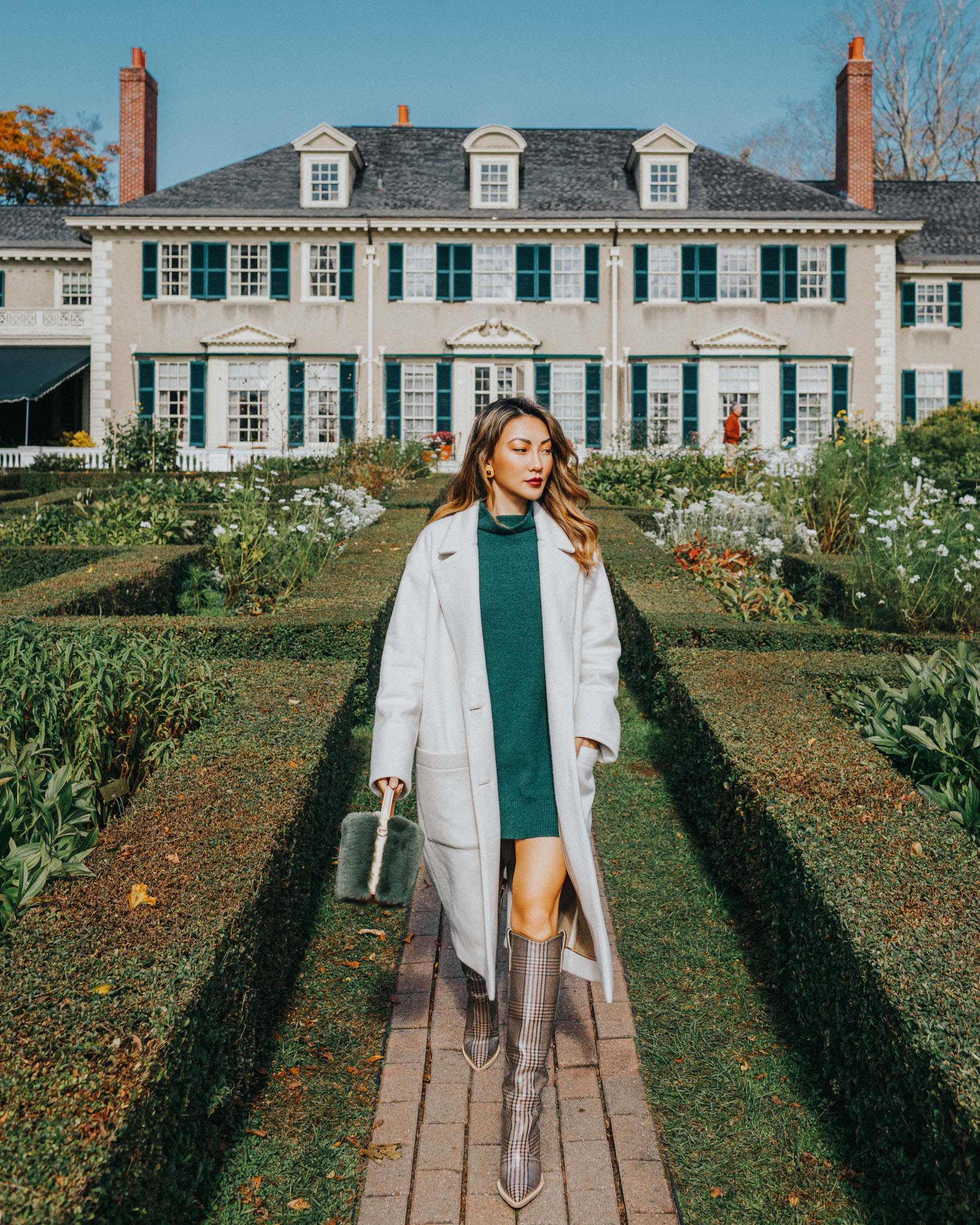 day-to-night outfit ideas, fendi plaid boots, sweater dress and boots, fall in vermont // Notjessfashion.com