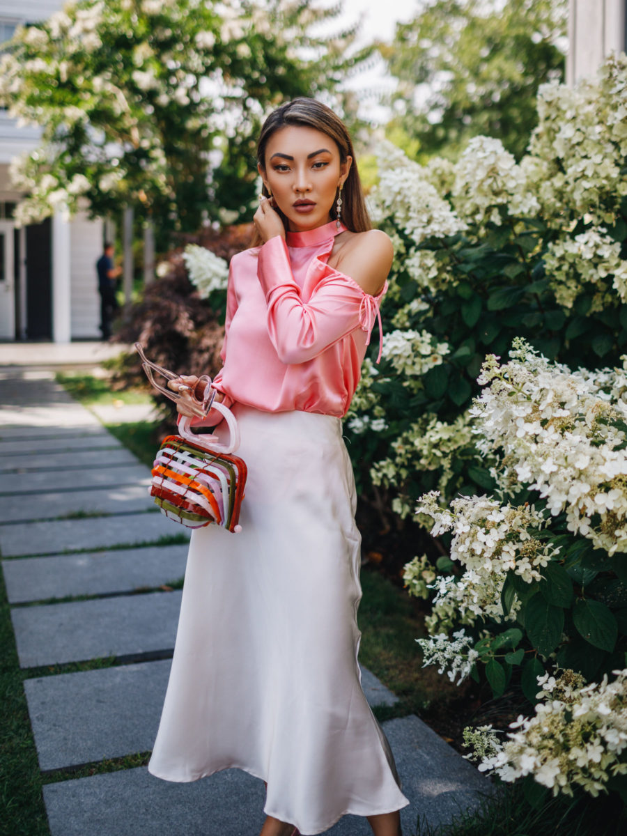 How to Define Your Personal Style - Dressy date night look, satin fashion trend, cult gaia bag // Notjessfashion.com