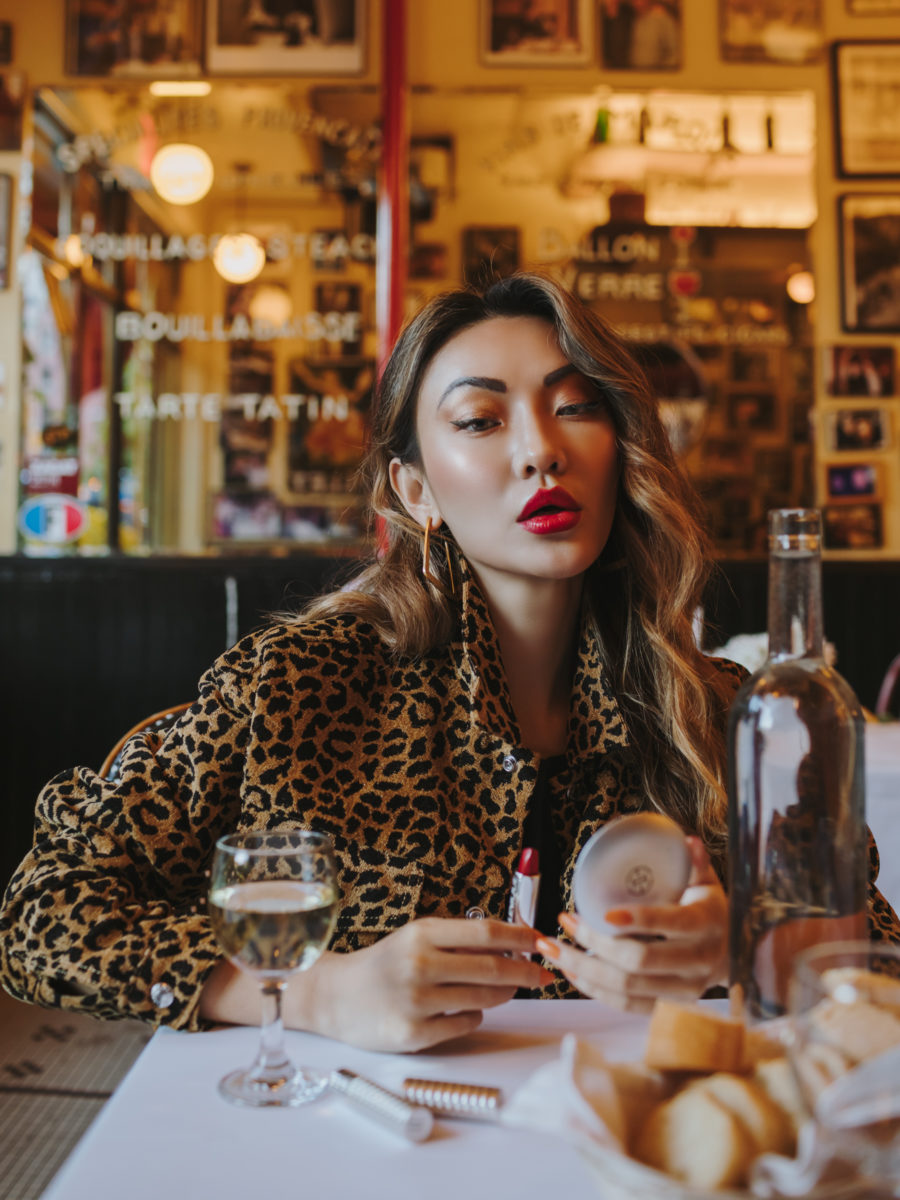 red lipstick, leopard print jacket // Notjessfashion.com