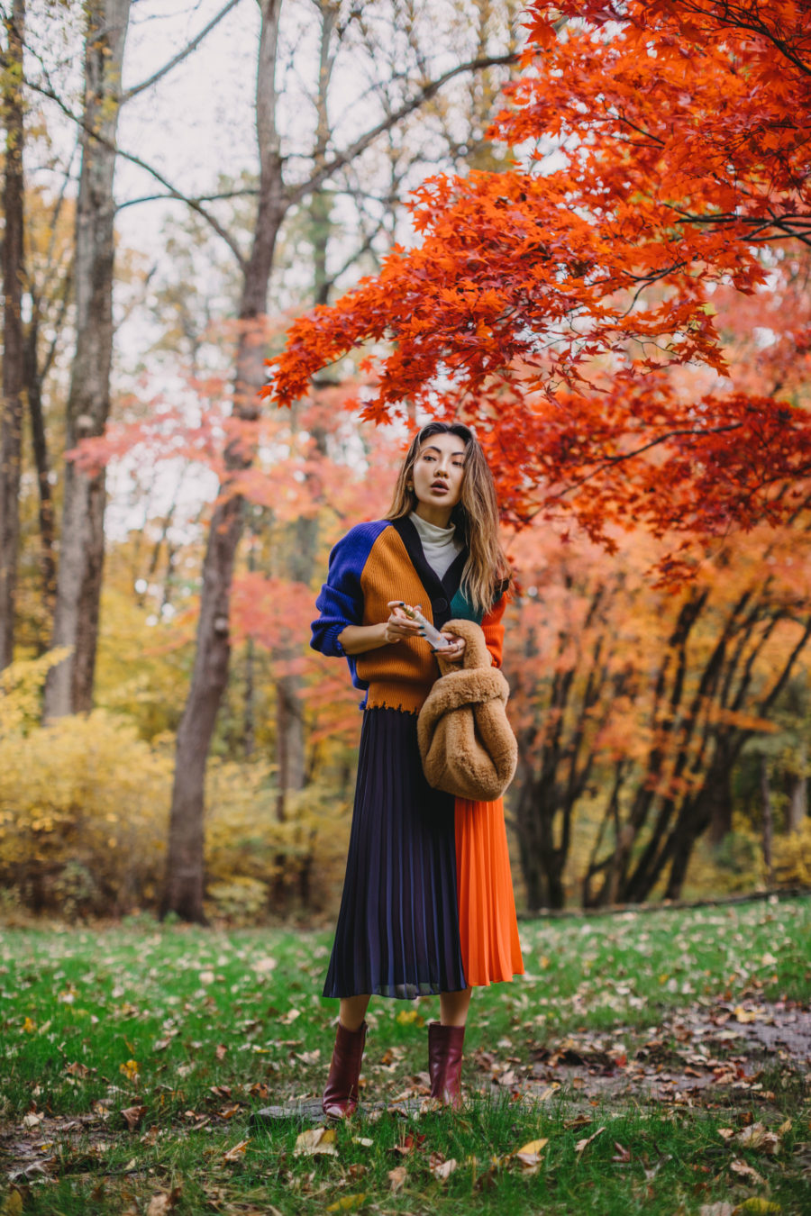blue and orange pleated skirt, burgundy boots // Notjessfashion.com