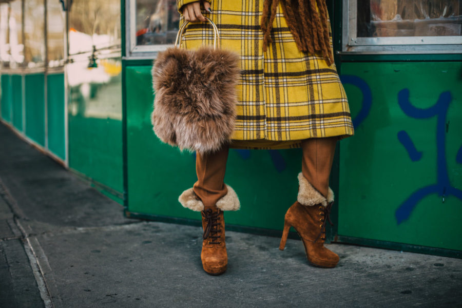 cozy chic items, Blanket Scarves, New York Fashion Blogger, yellow plaid coat, chunky scarf, fur handbag // Notjessfashion.com