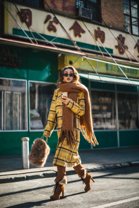 cozy chic items, Blanket Scarves, New York Fashion Blogger, yellow plaid coat, chunky scarf, fur handbag // Notjessfashion.com