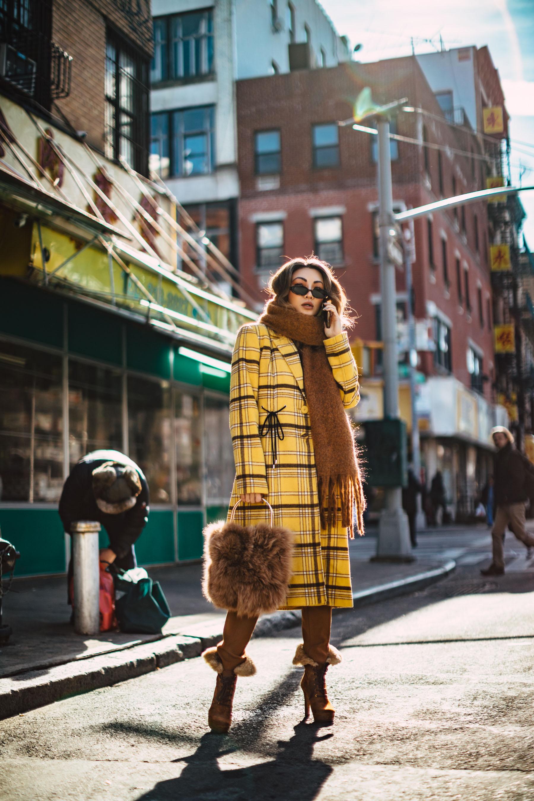 best fall 2019 boots, faux fur boots, New York Fashion Blogger, yellow plaid coat, chunky scarf, fur handbag // Notjessfashion.com