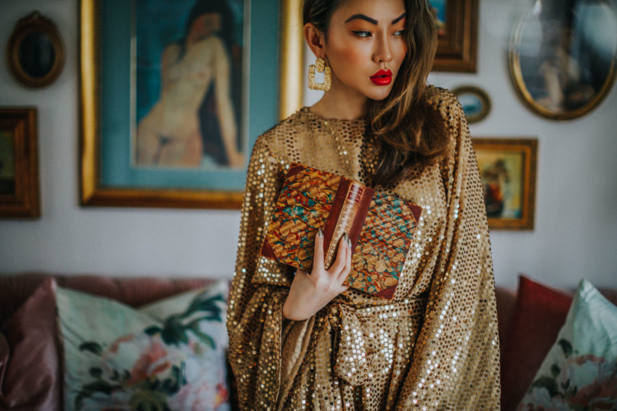 fashion blogger jessica wang shares holiday party makeup looks in sequin dress with red lips // Notjessfashion.com