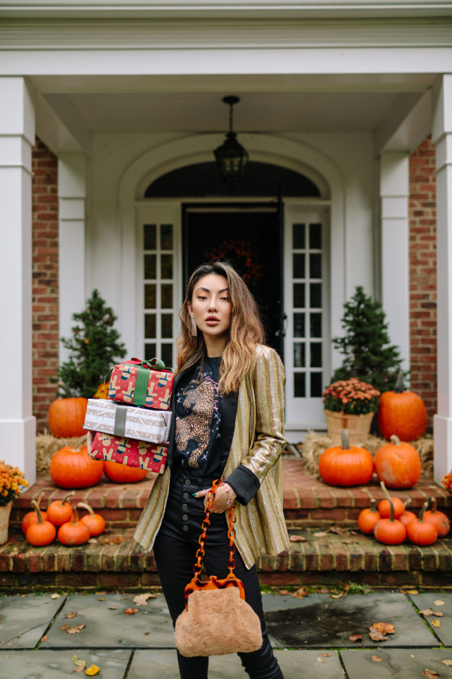 Holiday Gift Guide for All the Women In Your Life - gold blazer, topshop fur bag, holiday dressing, festive holiday outfit // Notjessfashion.com