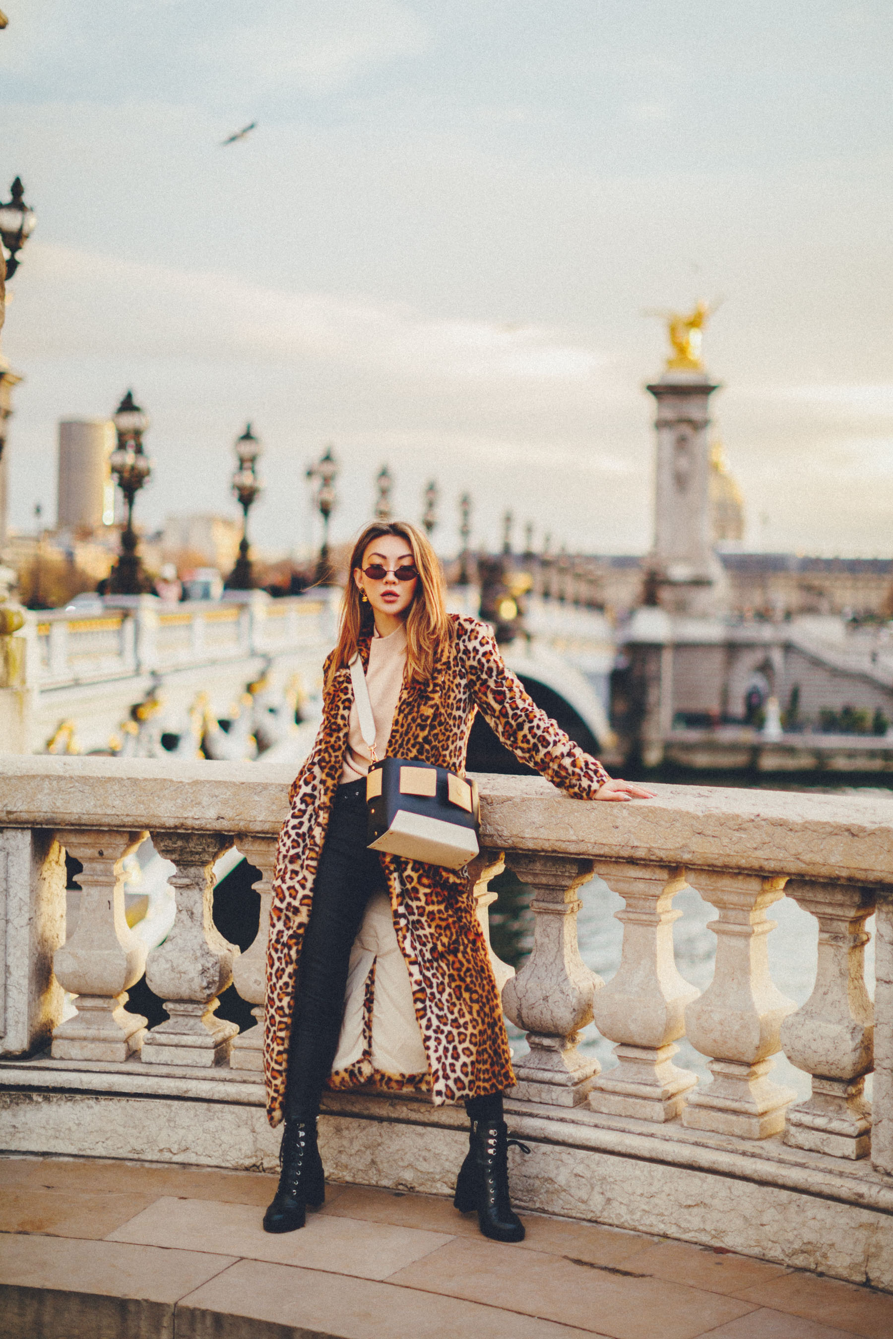best fall 2019 boots, combat boots outfit, pont alexandre iii bridge, leopard coat, yuzefi bag // Notjessfashion.com