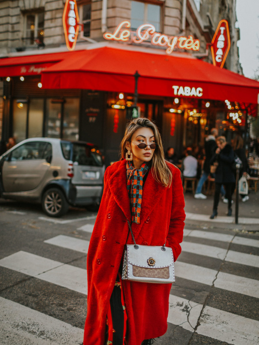 statement pieces to have in your wardrobe, how to build a better wardrobe, red fur coat, plaid scarf // Notjessfashion.com