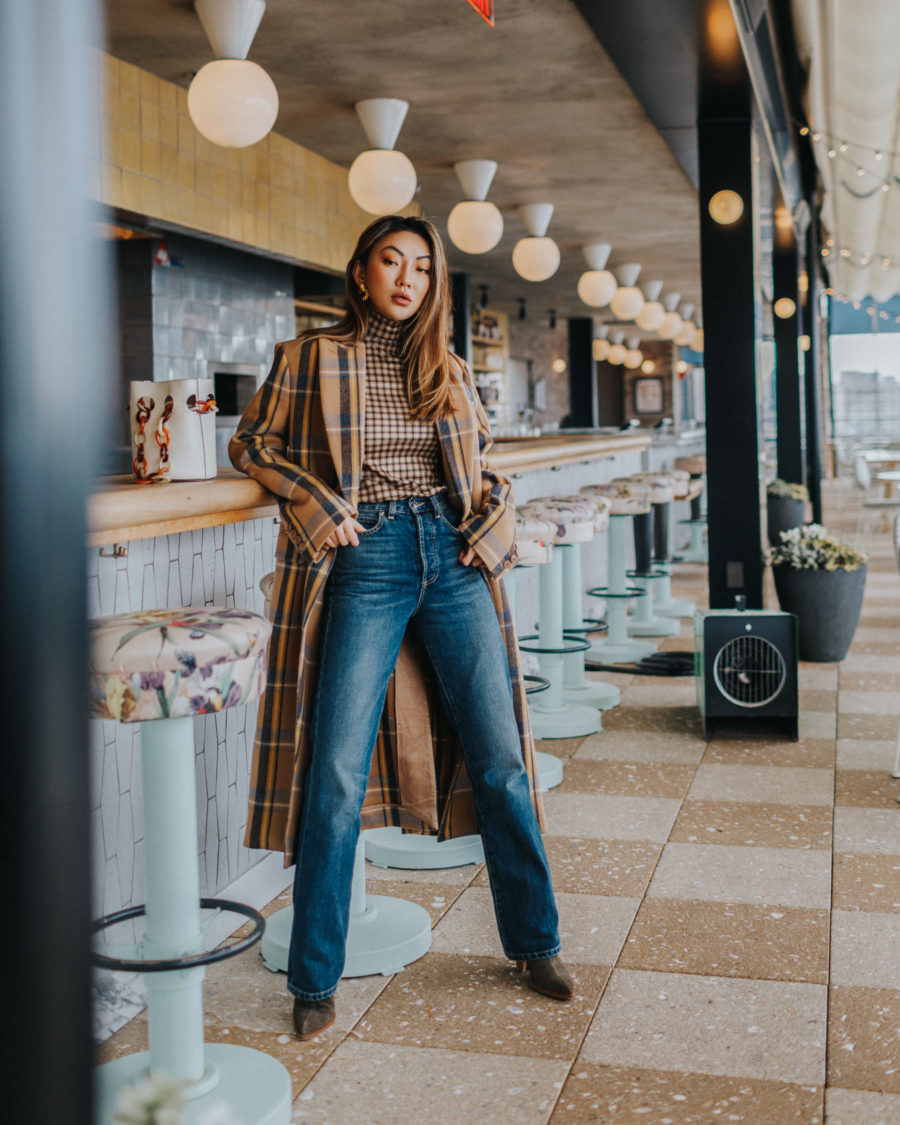 pieces to elevate any outfit, plaid coat, plaid coat and jeans, eve denim, western boot trend // Notjessfashion.com
