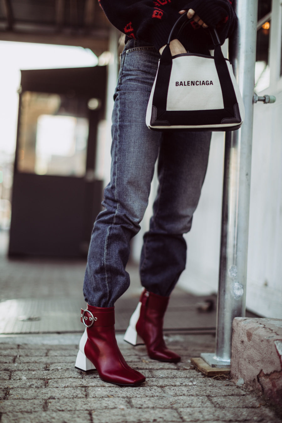 Must-Have Brands to Rock the Logomania Trend - Balenciaga Logo Sweater, Balenciaga Tote, Dakar Boots, NYC Street Style // Notjessfashion.com