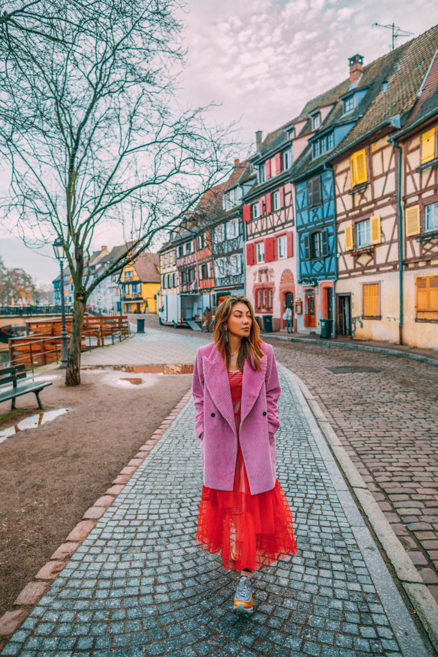 How to Build a Better Wardrobe in 2019, pink corduroy coat, red tulle dress, dress with sneakers // Notjessfashion.com
