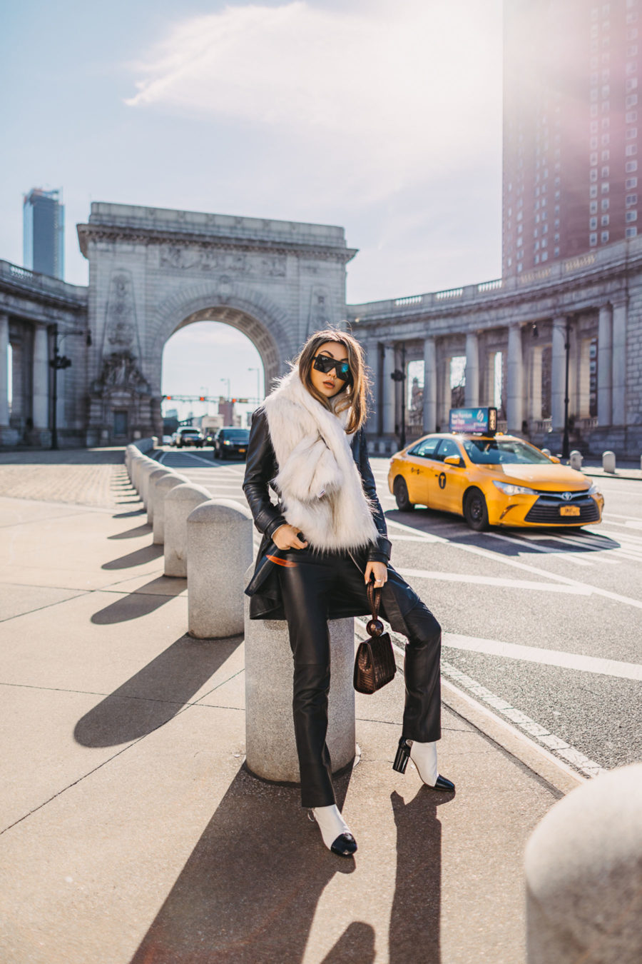 trouser styles for women, by far leather tote, saint laurent sunglasses, faux fur wrap, leather coat and pants, nyc winter style, oversized scarf // Notjessfashion.com