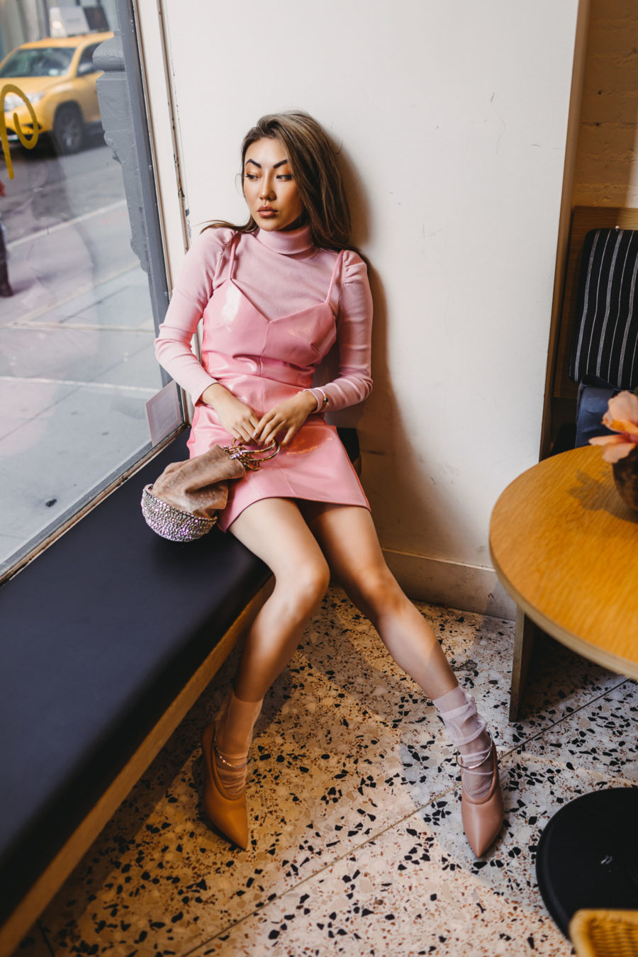Best coffee shops to work in nyc, monochromatic pink outfit, pink mini dress // notjessfashion.com