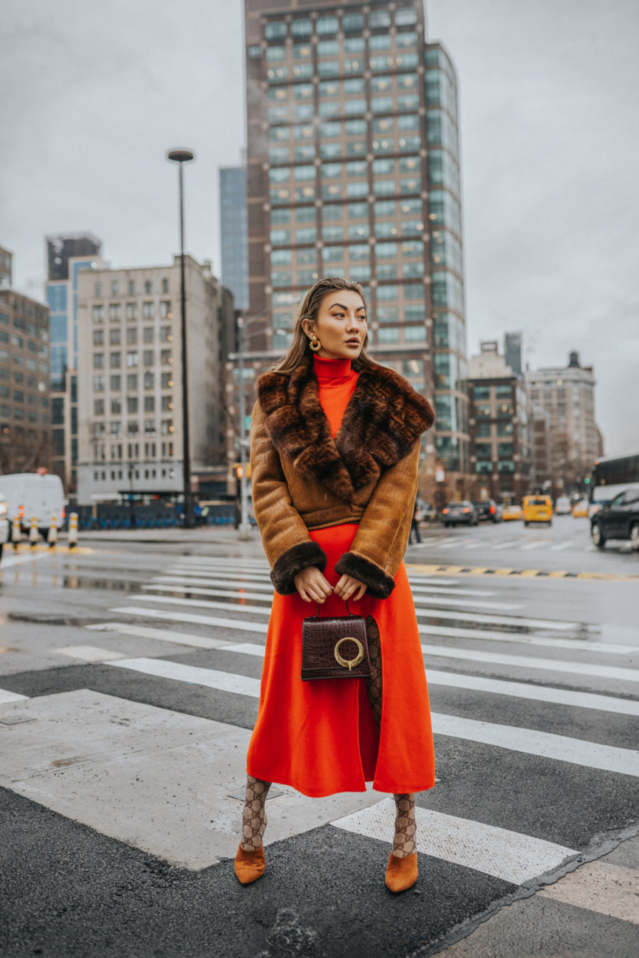 fashion blogger jessica wang wearing faux shearling coats at fashion week // Jessica Wang - Notjessfashion.com