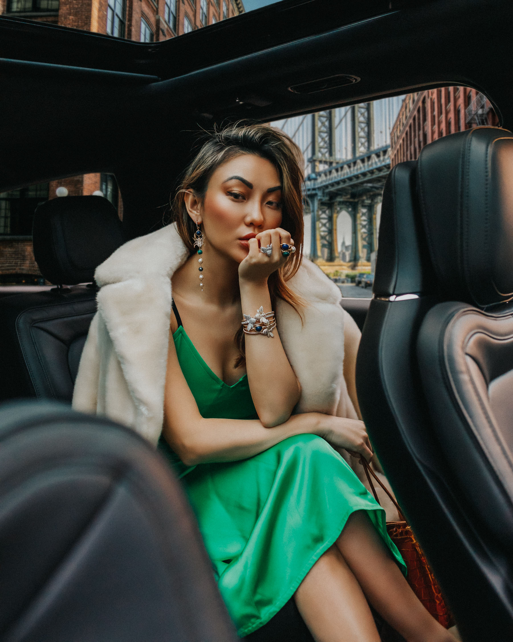 faux fur coat, slip dress, fall date night outfits // Notjessfashion.com