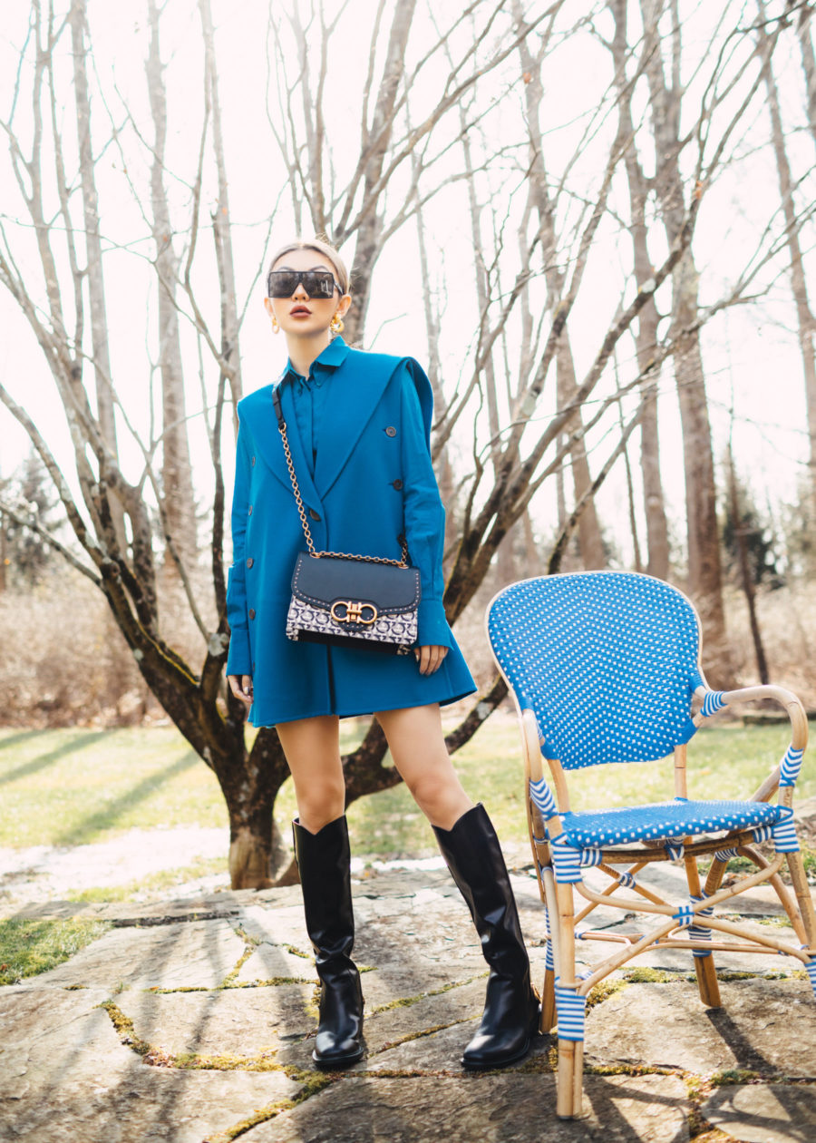 biggest winter boot trends - weather repellent boots, blue blazer dress // notjessfashion.com