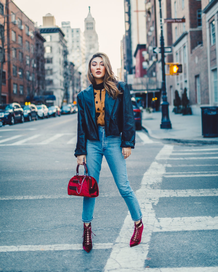how to make your clothes last longer, leopard cardigan, leather jacket and jeans, red lace up boots // Notjessfashion.com