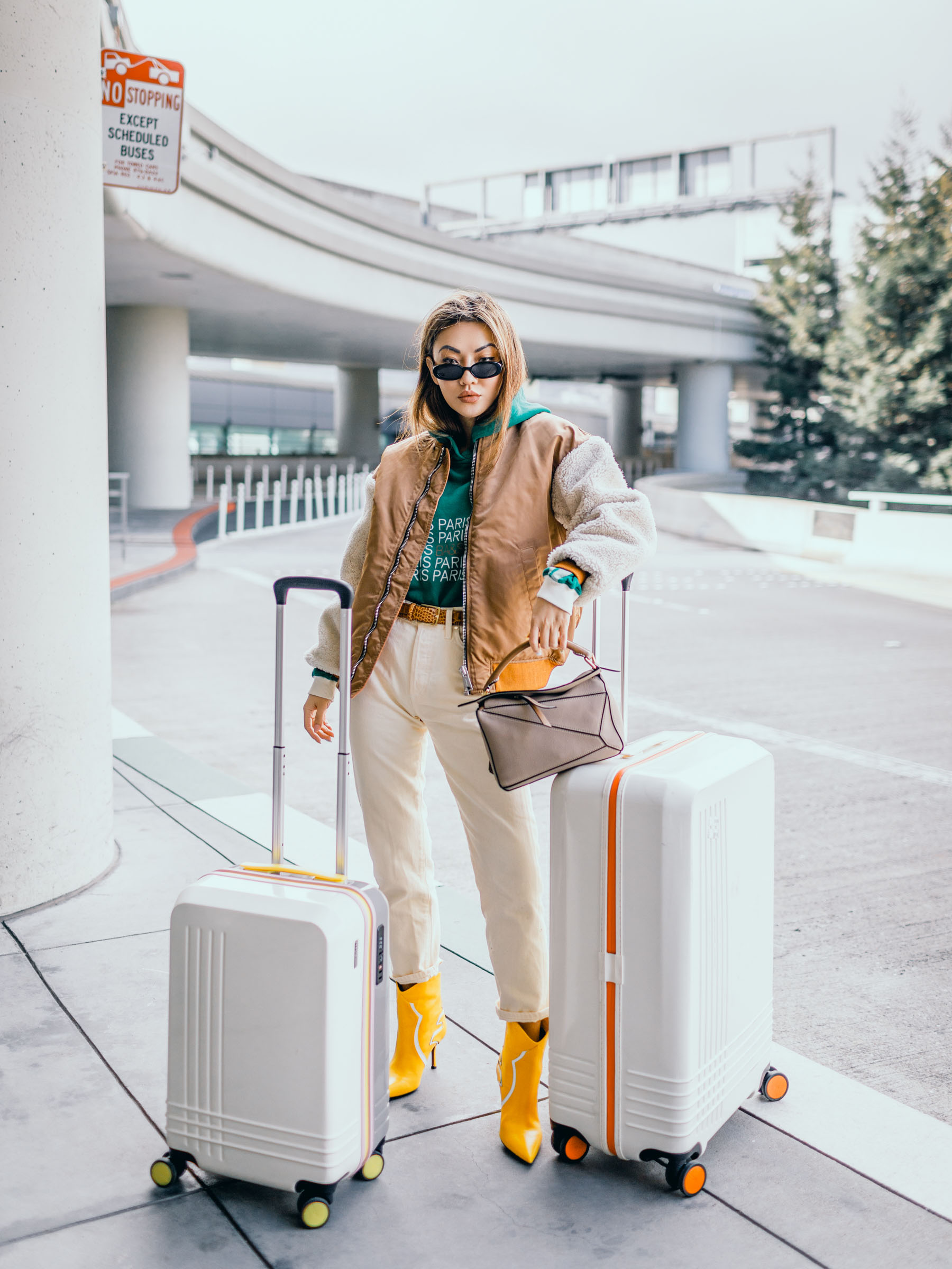 summer staples to take into fall, chic travel outfits, blogger travel outfits, loewe puzzle bag, roam luggage // Notjessfashion.com