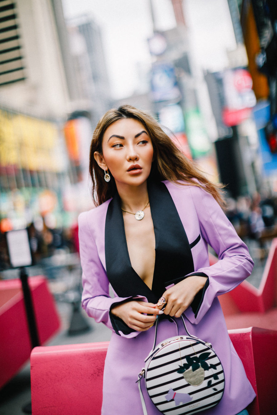 summer fashion trends 2019, lavender blazer, apm monaco coin jewelry, Radley London stripe backpack // Notjessfashion.com