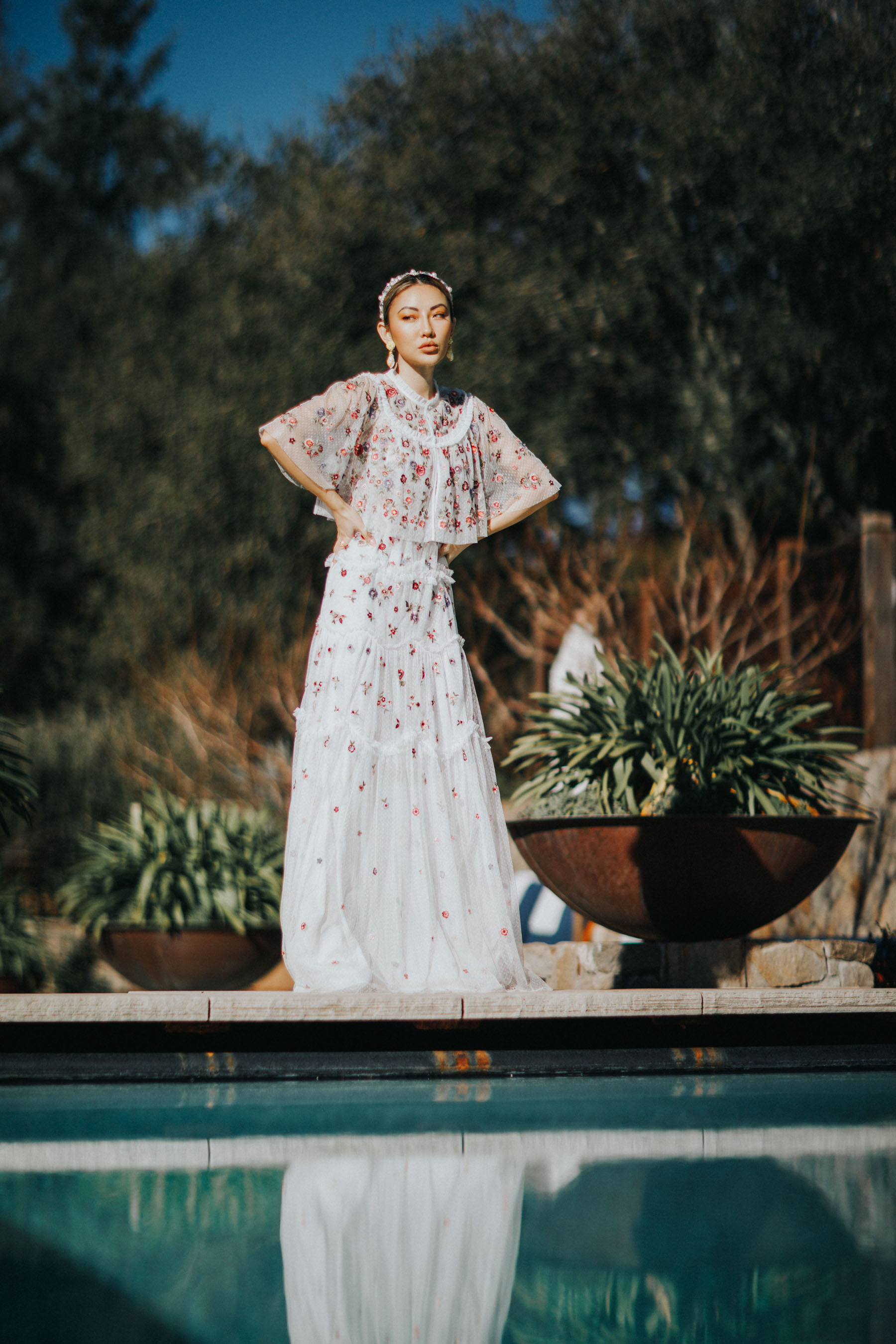 wedding guest outfit ideas, chiffon gown, needle and thread dress // Notjessfashion.com