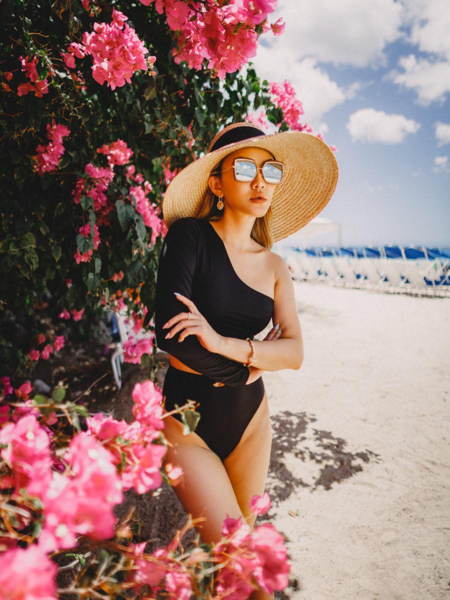 2021 swimwear trends - retro, high cuts swimsuit, belted waist bikini, Myra One Shoulder Bikini and bottom, coin Earrings, Dita Narcissus Sunglasses, APM Monaco Jewelry // Jessica Wang - Notjessfashion.com