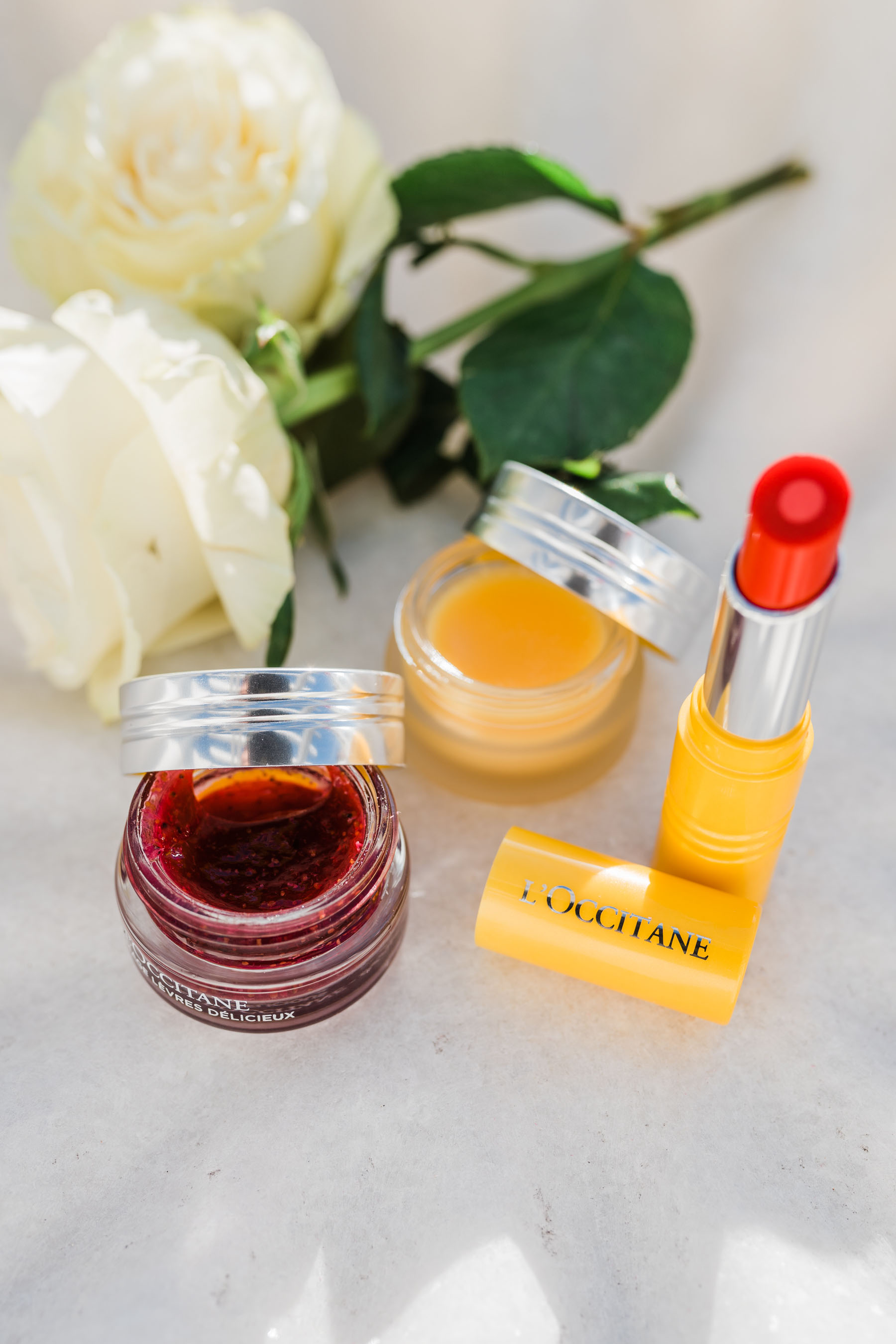 self-care products, l'occitane fruity lipstick, l'occitane lip products, tropical pjs // Notjessfashion.com