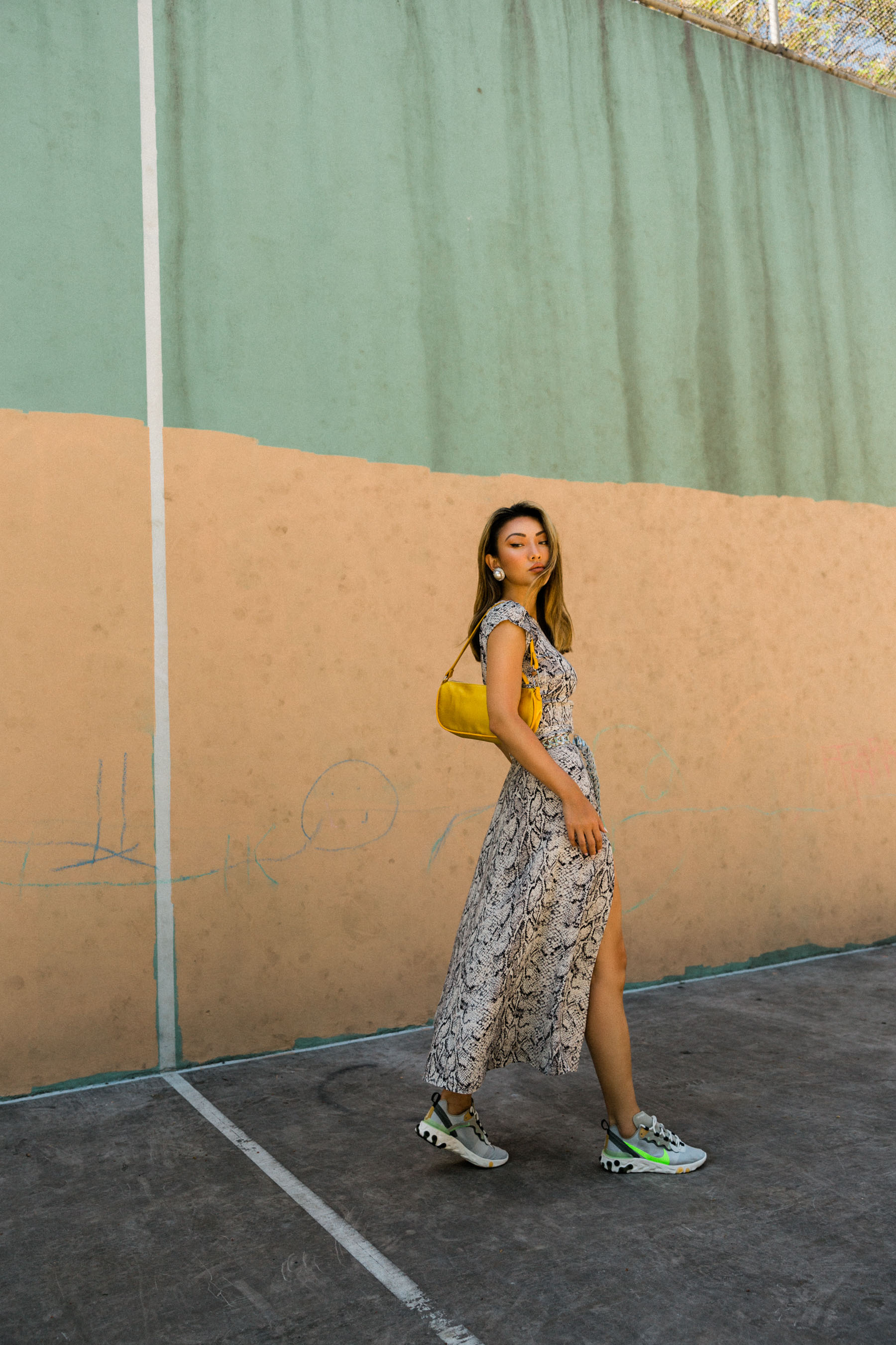 snake print dress, dress and sneakers // Notjessfashion.com