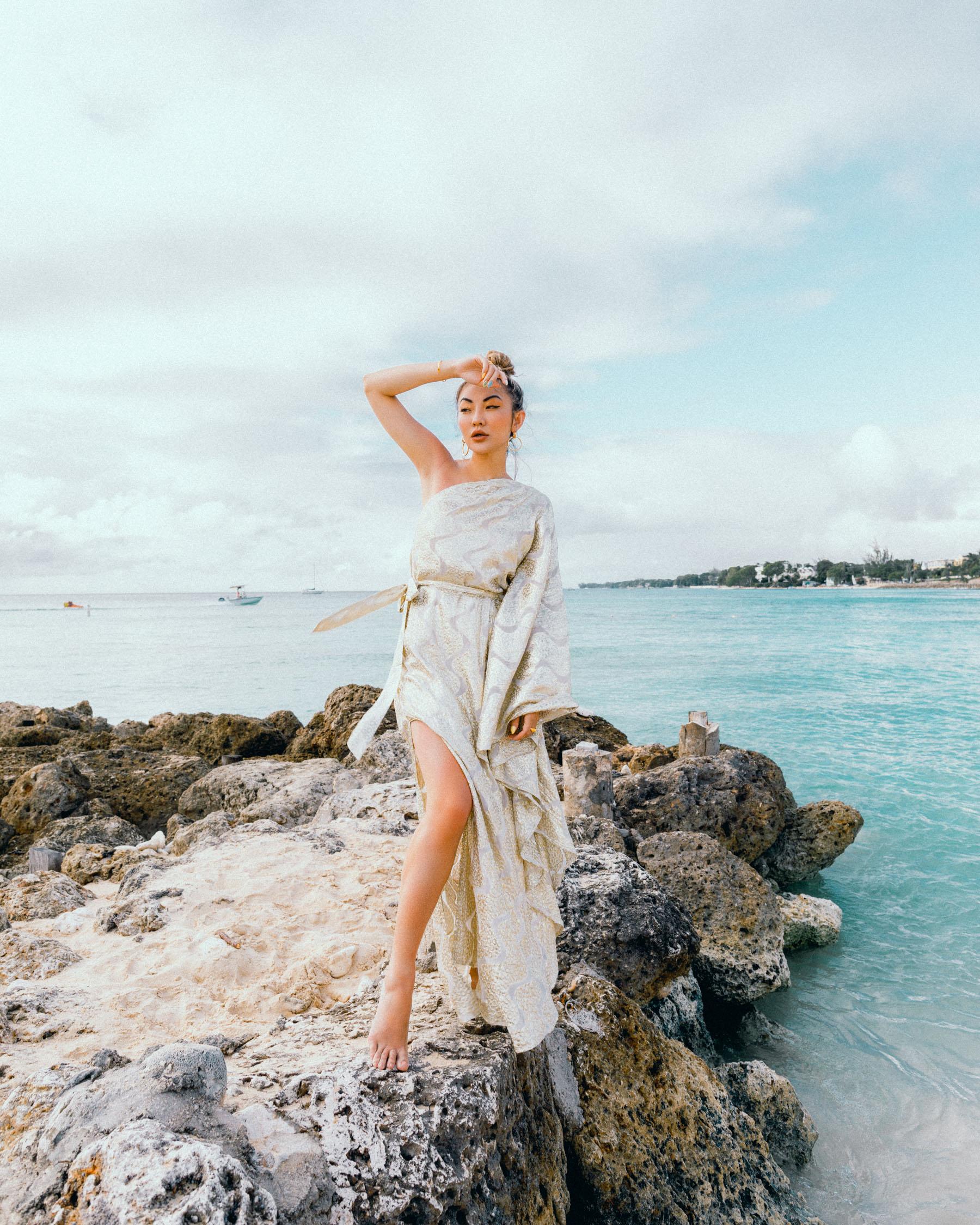 affordable it-girl brands, one-shoulder dress, vacation style // Notjessfashion.com