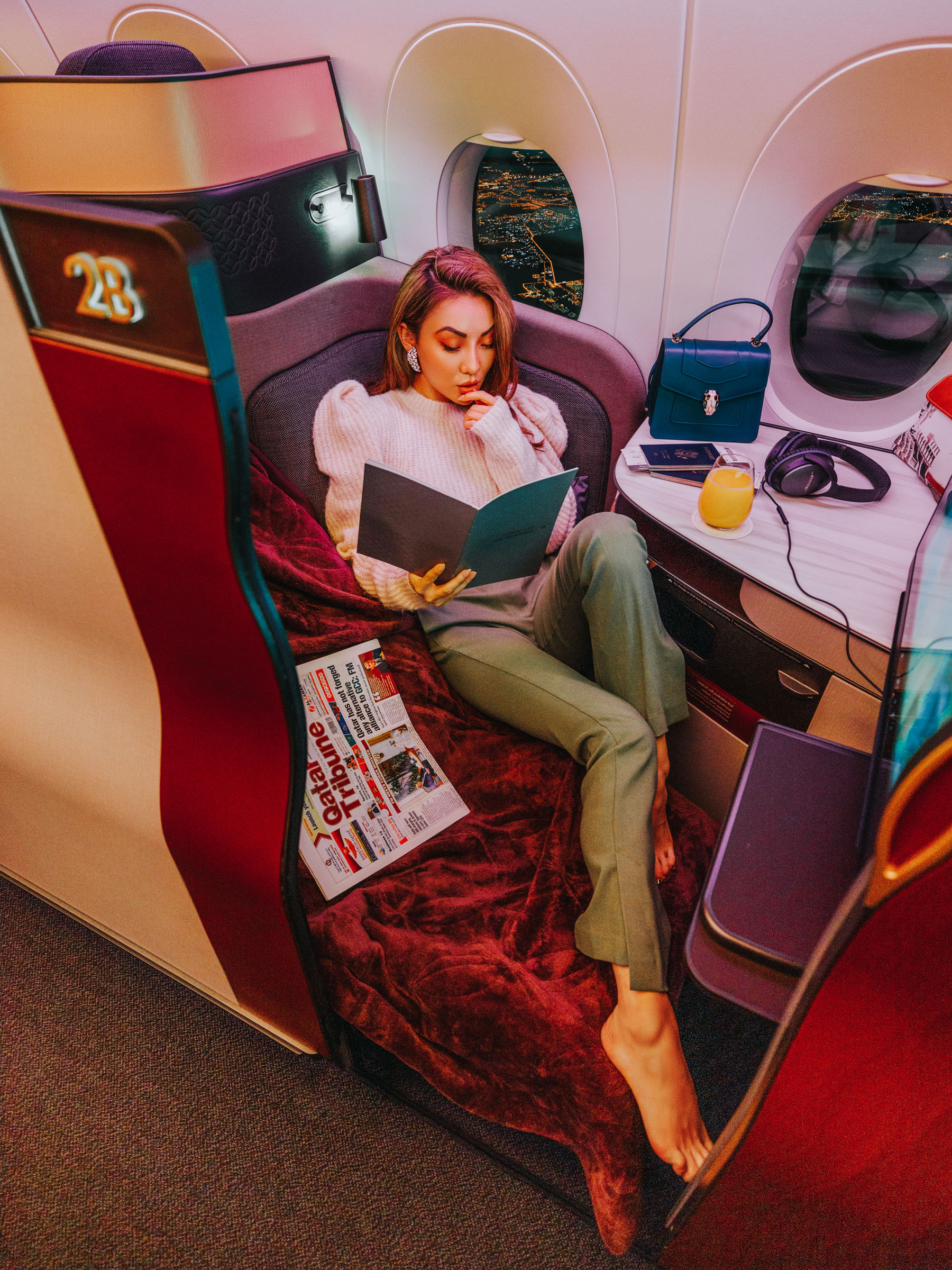 best travel accessories, qatar airlines, luxury travel blogger, stylish travel outfit // Notjessfashion.com