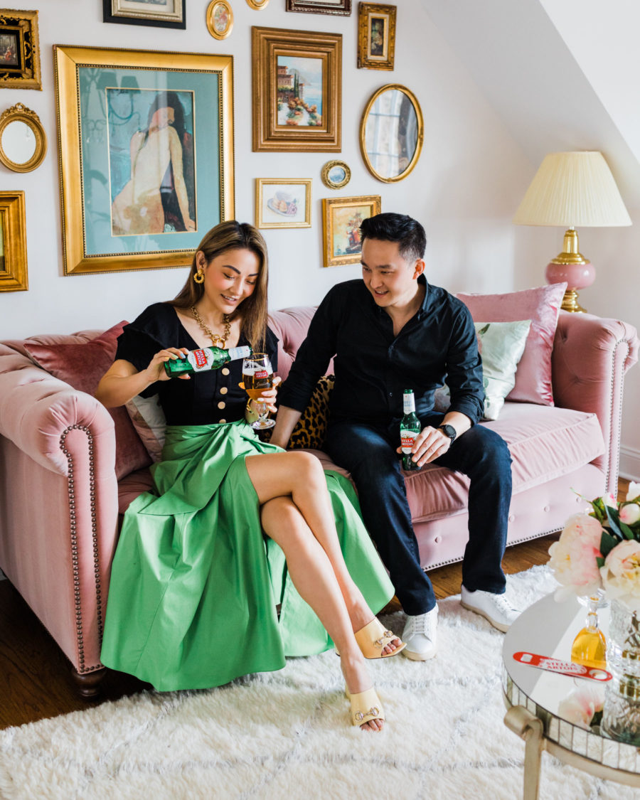 Non-cheesy ways to match with your significant other - gucci mules, black puff sleeve top, green skirt, JW anderson necklace, hoop earrings // Jessica Wang - Notjessfashion.com
