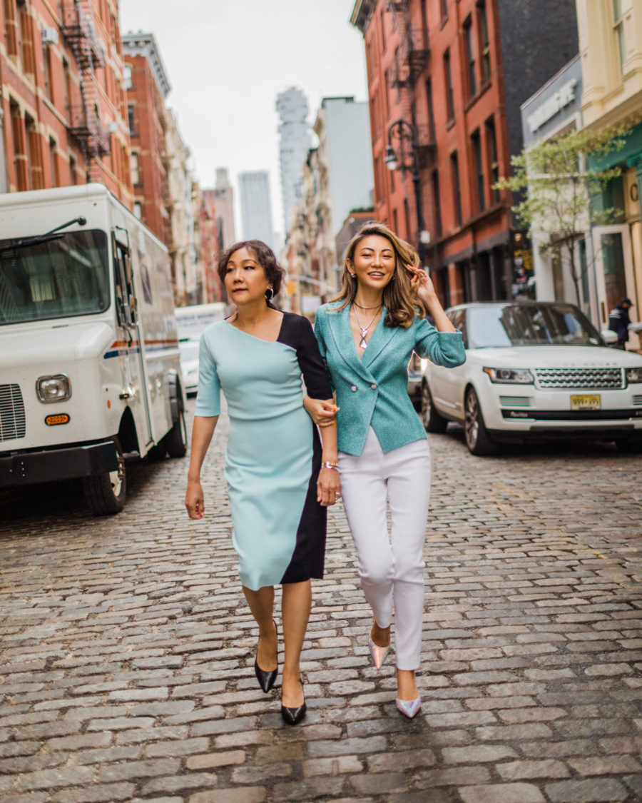 fashion blogger jessica wang wearing st. john with her mom and shares ways to treat your mom // Jessica Wang - Notjessfashion.com