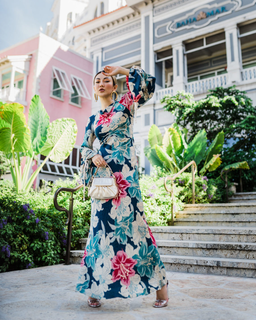 fashion blogger jessica wang wears oscar de la renta floral dress and shares her favorite fashion brands of 2020 // Notjessfashion.com