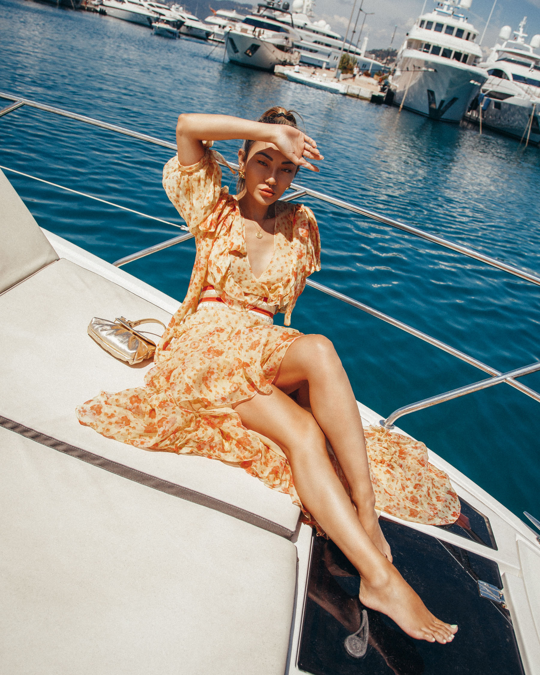 summer vacation essentials, what to wear on a yacht, summer dress, floral sun dress // Notjessfashion.com