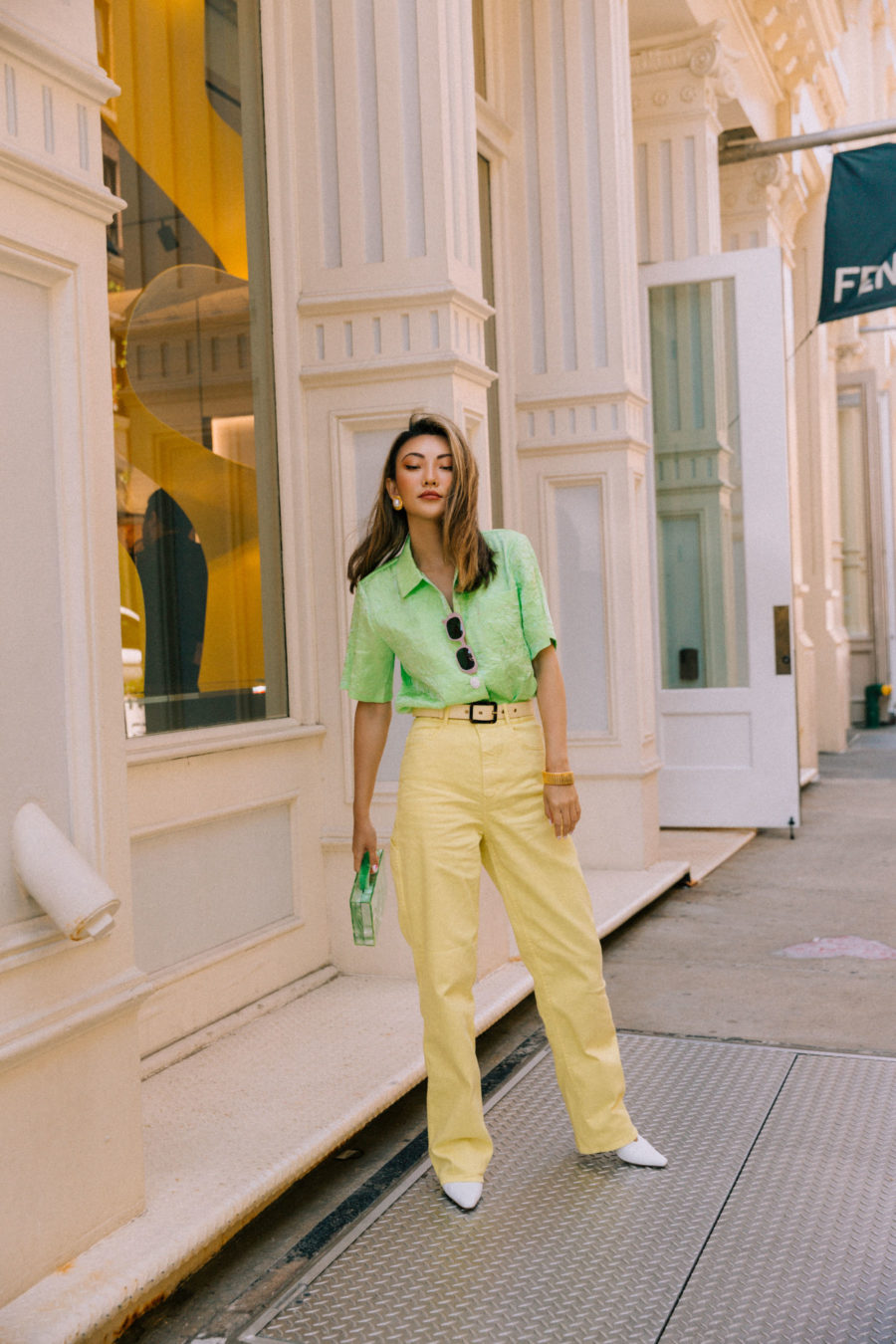 color combinations for summer - green and yellow outfit // Jessica Wang - Notjessfashion.com