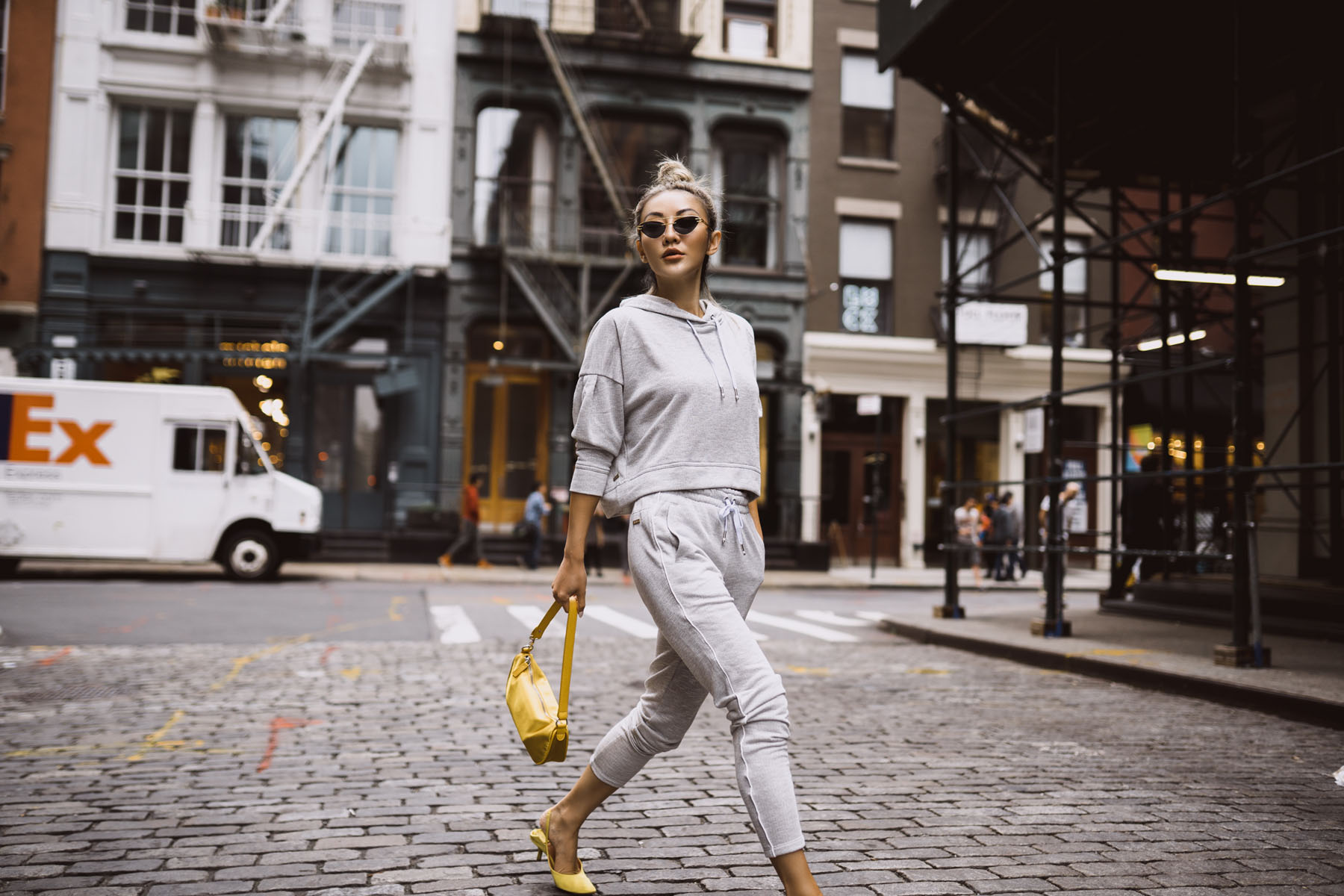 fresh ways to wear athleisure, joggers and kitten heels, joggers with heels, cool athleisure style // Notjessfashion.com