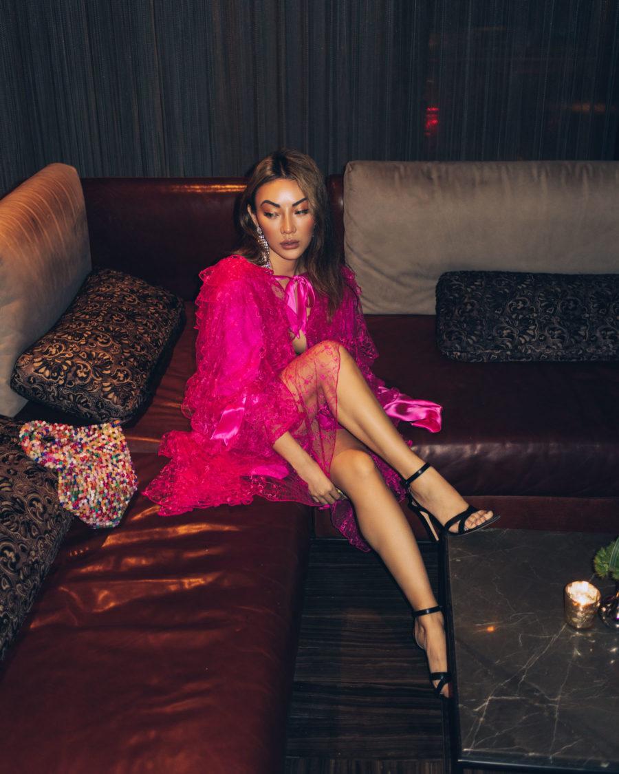 spring transitional outfits - sheer fuschia dress // Jessica Wang - Notjessfashion.com