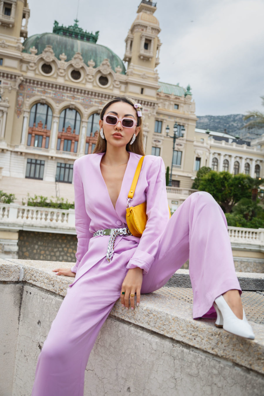 jessica wang wearing a lavender blazer and wide leg pants with white pumps while sharing casual spring suits for women // Jessica Wang - Notjessfashion.com